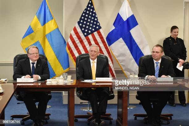 US Defence Secretary Jim Mattis takes part in a trilateral meeting with Swedish Defence Minister Peter Hultqvist and Finnish Defence Minister Jussi...