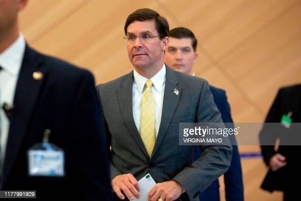 US Defence Secretary Mark Esper arrives for a bilateral meeting with Turkish Defense Minister on the sidelines of a NATO Defence ministers meeting at...