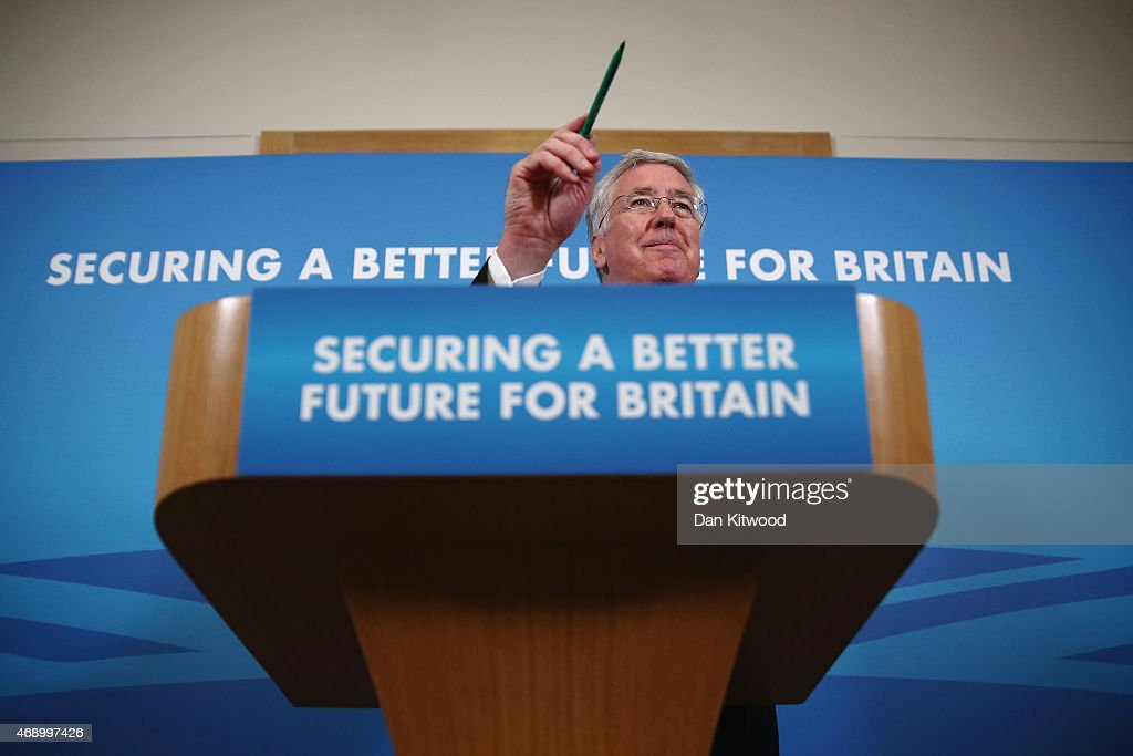 Defence Secretary Michael Fallon gives a press conference on April 9, 2015 in London, England. Mr Fallon answered questions from the press on the UK's commitment to spending 2% of GDP on defence, and on the future of Trident. Campaigning continues in what is predicted to be Britain's closest national election, which will take place on May 7.