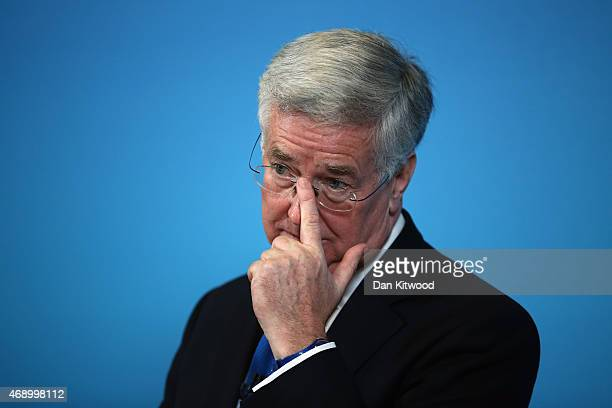 Defence Secretary Michael Fallon gives a press conference on April 9 2015 in London England Mr Fallon answered questions from the press on the UK's...