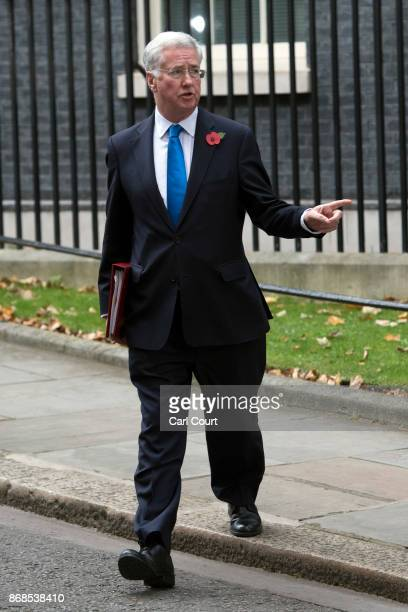 Defence secretary Michael Fallon leaves after attending a cabinet meeting in Downing Street on October 31 2017 in London England The Prime Minister...