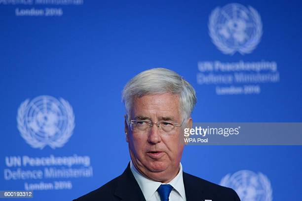 Defence Secretary Michael Fallon opens the UN Peacekeeping Defence Ministerial at Lancaster House on September 8 2016 in London England