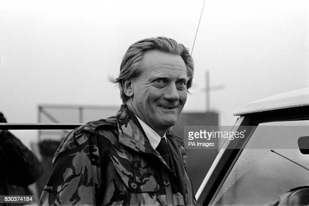 Defence Secretary Michael Heseltine at RAF Molesworth where 100 anticruise missile protestors were evicted by police and the Army and a 7 1/2 mile...