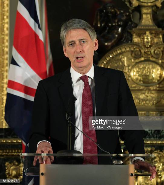 Defence Secretary Philip Hammond during a press conference on the hostage crisis in Algeria at Lancaster House central London