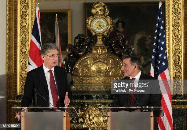 Defence Secretary Philip Hammond with US Secretary of Defence Leon Panetta during a press conference on the hostage crisis in Algeria at Lancaster...
