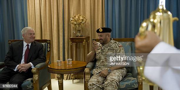 US Defence Secretary Robert Gates meets with Emirati Deputy Chief of Staff Major General Ali alKaabi upon the former's arrival at AlDhafra Air Base...