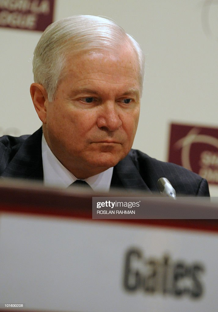 US Defence Secretary Robert Gates waits to deliver his speech during the Asia-Pacific security forum in Singapore on June 5, 2010. The United States is weighing fresh steps to hold North Korea to account after the sinking of a South Korean warship, US Defense Secretary Robert Gates said .