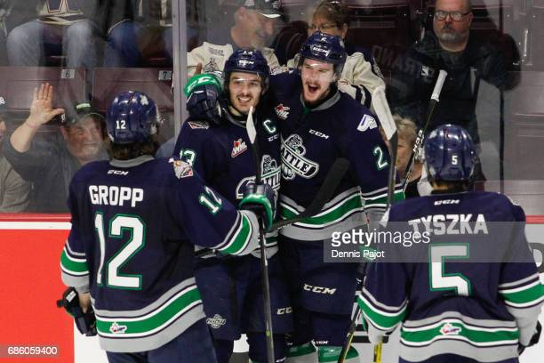 Defenceman Austin Strand of the Seattle Thunderbirds celebrates his second period goal against the Erie Otters on May 20 2017 during Game 2 of the...