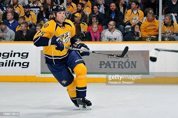 Defenceman Hal Gill of the Nashville Predators plays against the Columbus Blue Jackets at Bridgestone Arena on January 19 2013 in Nashville Tennessee