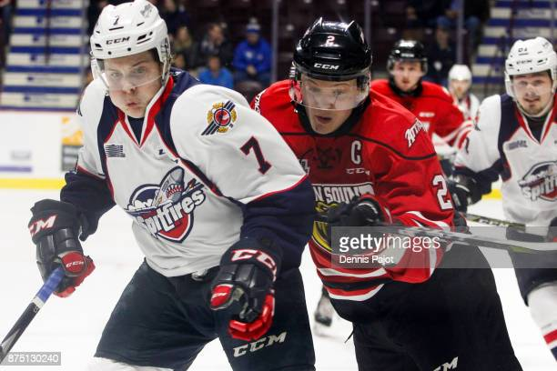 Defenceman Jacob Friend of the Owen Sound Attack skates against forward Tyler Angle of the Windsor Spitfires on November 16 2017 at the WFCU Centre...