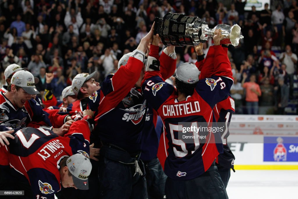 Defenceman Jalen Chatfield #51 of the Windsor Spitfires celebrates winning the championship game of the Mastercard Memorial Cup against the Erie Otters 4-3 on May 28, 2017 at the WFCU Centre in Windsor, Ontario, Canada.