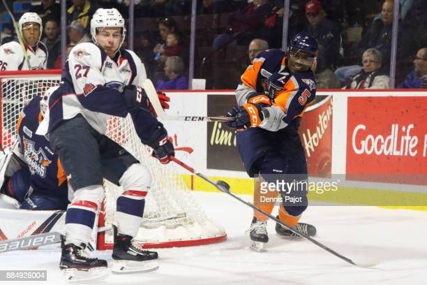 Defenceman Jalen Smereck of the Flint Firebirds moves the puck against the Windsor Spitfires on December 3 2017 at the WFCU Centre in Windsor Ontario...