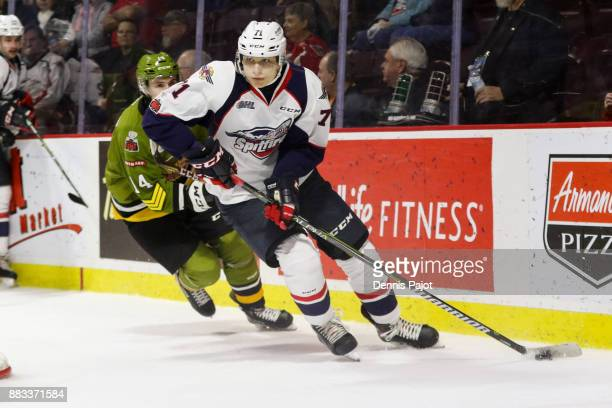 Defenceman Lev Starikov of the Windsor Spitfires moves the puck against the the North Bay Battalion on November 30 2017 at the WFCU Centre in Windsor...