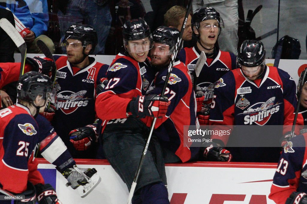 Defenceman Logan Stanley #17 of the Windsor Spitfires celebrates his second period goal against the Erie Otterson May 28, 2017 during the championship game of the Mastercard Memorial Cup at the WFCU Centre in Windsor, Ontario, Canada.