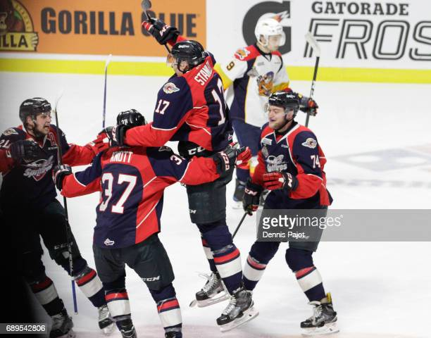 Defenceman Logan Stanley of the Windsor Spitfires celebrates his second period goal against the Erie Otters on May 28 2017 during the championship...
