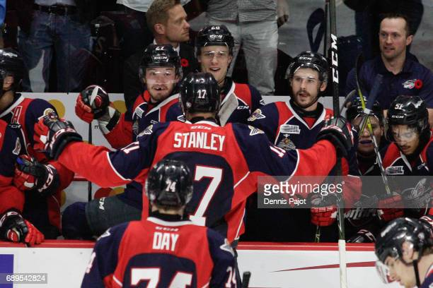 Defenceman Logan Stanley of the Windsor Spitfires celebrates his second period goal against the Erie Otterson May 28 2017 during the championship...