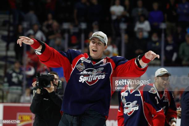 Defenceman Logan Stanley of the Windsor Spitfires celebrates winning the championship game of the Mastercard Memorial Cup against the Erie Otters 43...