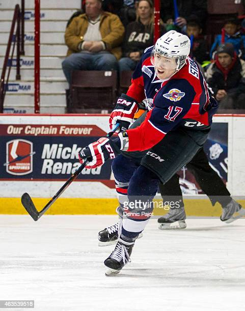 Defenceman Logan Stanley of the Windsor Spitfires moves the puck against the Niagara Ice Dogs on February 15 2015 at the WFCU Centre in Windsor...