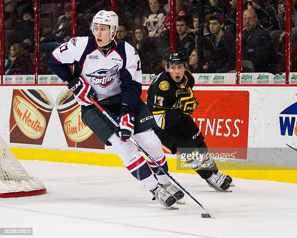 Defenceman Logan Stanley of the Windsor Spitfires moves the puck against the Sarnia Sting on December 28 2015 at the WFCU Centre in Windsor Ontario...