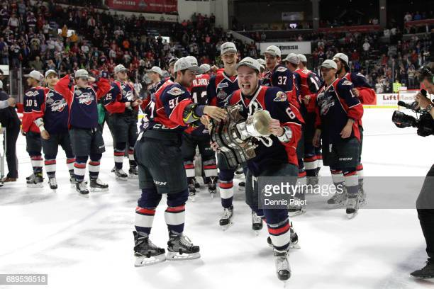 Defenceman Luke Boka of the Windsor Spitfires celebrates winning the championship game of the Mastercard Memorial Cup against the Erie Otters 43 on...
