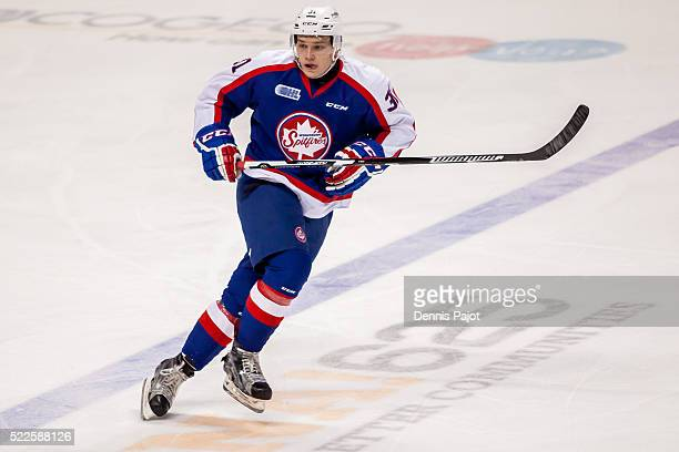 Defenceman Mikhail Sergachev of the Windsor Spitfires skates against the Sarnia Sting on January 31 2016 at the WFCU Centre in Windsor Ontario Canada