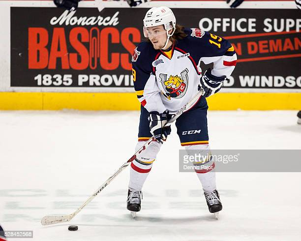 Defenceman Rasmus Andersson of the Barrie Colts moves the puck against the Windsor Spitfires on February 25 2016 at the WFCU Centre in Windsor...