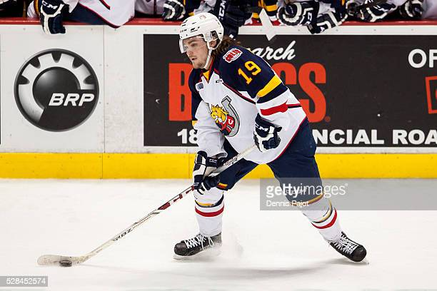 Defenceman Rasmus Andersson of the Barrie Colts skates against the Windsor Spitfires on February 25 2016 at the WFCU Centre in Windsor Ontario Canada