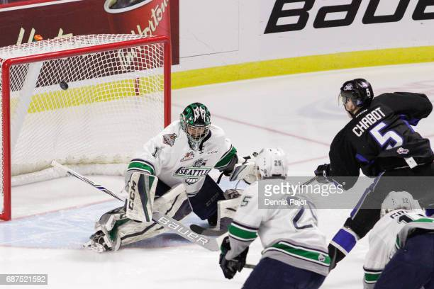 Defenceman Thomas Chabot of the Saint John Sea Dogs fires the puck against goaltender Carl Stankowski of the Seattle Thunderbirds on May 23 2017...
