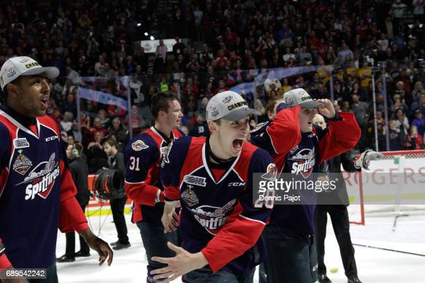 Defenceman Tyler Nother of the Windsor Spitfires celebrates winning the championship game of the Mastercard Memorial Cup against the Erie Otters 43...