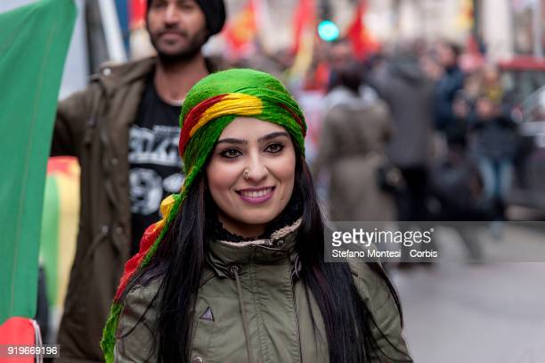 Defend Afrin national demonstration against the Turkish bombardments in Afrin for the freedom of Ocalan and justice in Kurdistan on February 17 2018...