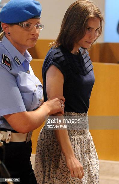 US defendant Amanda Knox arrives on June 18 2011 in court for the start of her appeal trial at the Perugia courthouse Knox was sentenced in December...