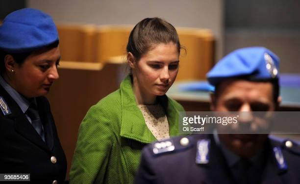 Defendant Amanda Knox leaves for a break in the Meredith Kercher trial during the closing arguments on December 3 2009 in Perugia Italy Amanda Knox...