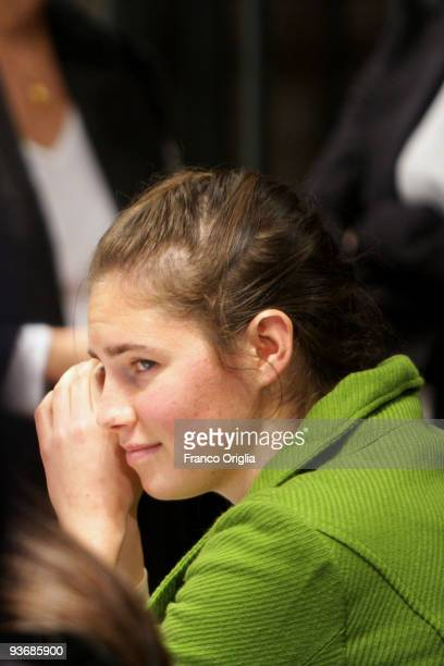 Defendant Amanda Knox looks on during the closing arguments of the Meredith Kercher murder trial on December 3 2009 in Perugia Italy Amanda Knox and...