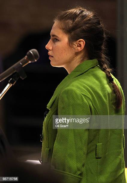 Defendant Amanda Knox takes her seat prior to addressing the court during the Meredith Kercher trial's closing arguments on December 3 2009 in...