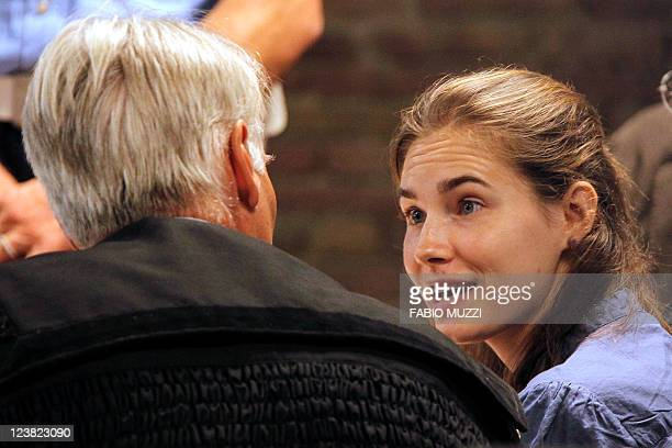 US defendant Amanda Knox who was sentenced in December 2009 to 26 years in prison for the grisly murder of her British roommate Meredith Kercher in...