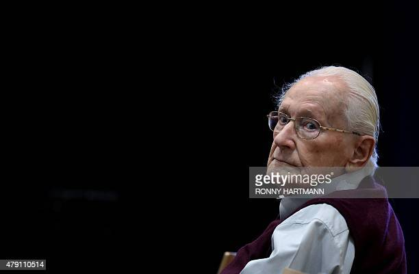 """Defendant and German former SS officer Oskar Groening dubbed the """"bookkeeper of Auschwitz"""", attends his trial on July 1, 2015 at the courtroom at the..."""