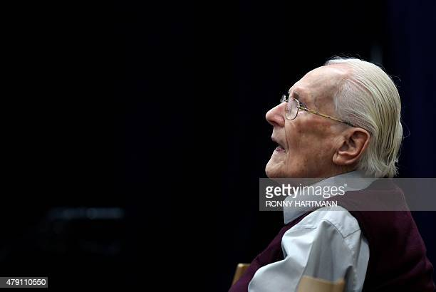 """Defendant and German former SS officer Oskar Groening dubbed the """"bookkeeper of Auschwitz"""", sits on July 1, 2015 at the courtroom at the..."""
