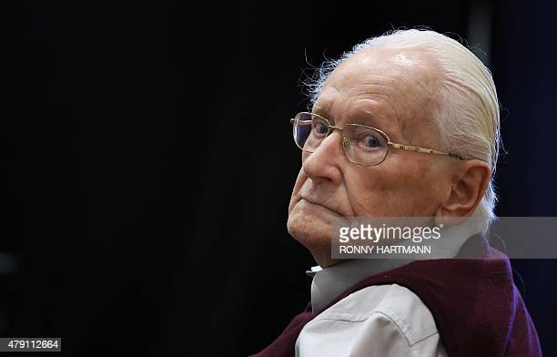 Defendant and German former SS officer Oskar Groening dubbed the bookkeeper of Auschwitz sits on July 1 2015 at the courtroom at the 'Ritterakademie'...