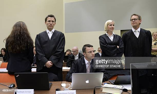 Defendant Beate Zschaepe accused of being at the heart of neoNazi killer cell NSU and her lawyers Mathias Grasel Wolfgang Stahl Anja Sturm and...