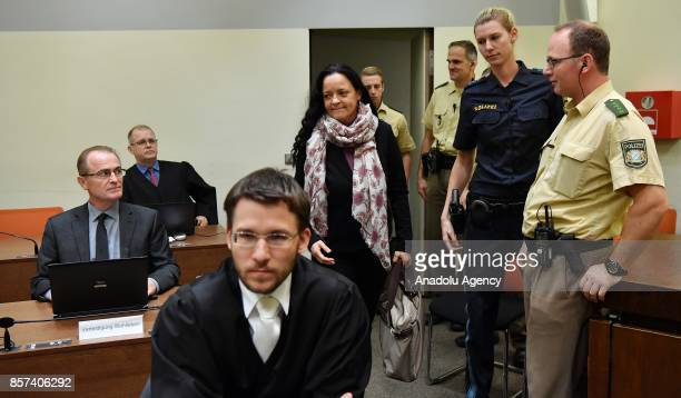 Defendant Beate Zschaepe arrives for NSU neoNazi murders trial in Oberlandesgericht in Munich on October 4 2017 Zschaepe and her lawers have declared...