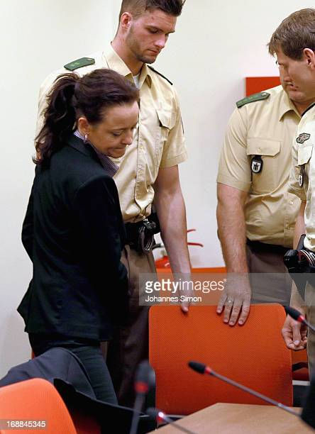 Defendant Beate Zschaepe arrives in the courtroom on day four of the NSU neoNazis murder trial at the Oberlandgericht Muenchen court on May 16 2013...