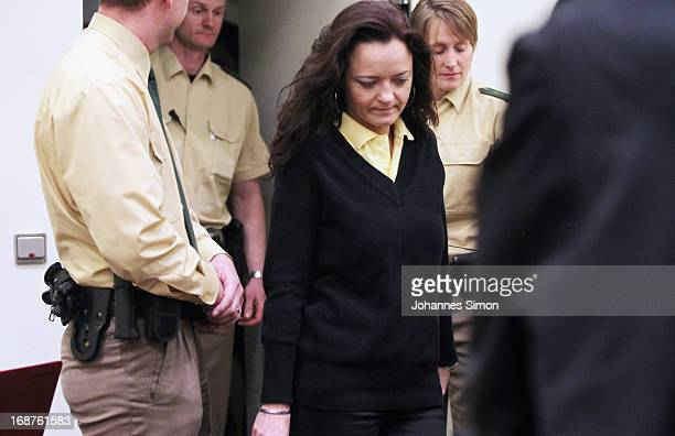 Defendant Beate Zschaepe arrives in the courtroom on day three of the NSU neoNazis murder trial at the Oberlandgericht Muenchen court on May 15 2013...