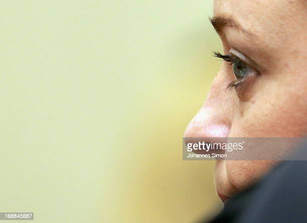 Defendant Beate Zschaepe looks on after arriving in the courtroom on day four of the NSU neoNazis murder trial at the Oberlandgericht Muenchen court...