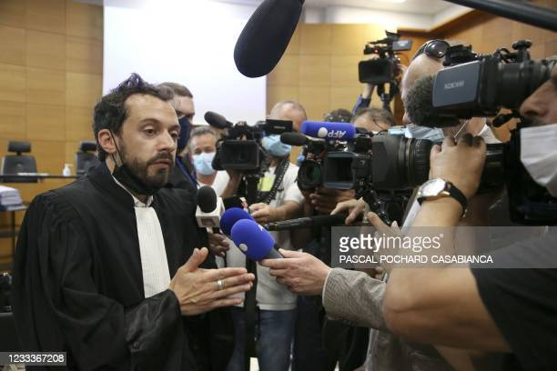 Defendant Bruno Garcia-Cruciani's lawyer Camille Radot talks to the press before the start of his trial for the murder of Julie Douib at the...