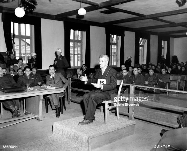 Defendant Dr Klaus Schilling makes an appeal during his trial by a US military court at Dachau concentration camp 7th December 1945 A camp doctor he...