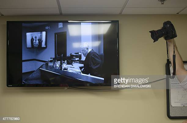 Defendant Dylann Roof is seen on a video feed during a bond hearing at the Charleston County Detention Center June 19 2015 in Charleston South...