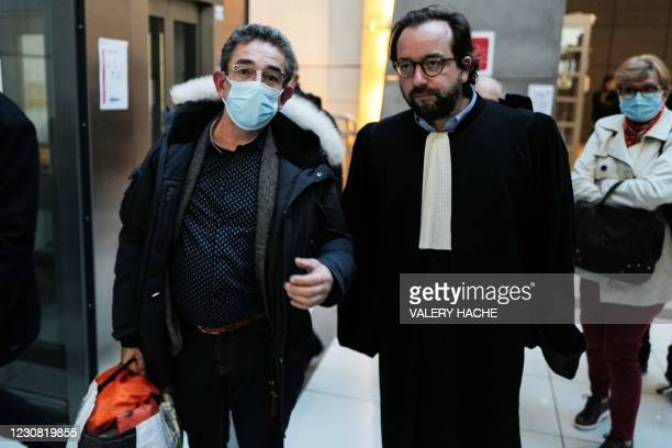 Defendant, former paparazzi turned private investigator Luc Goursolas walks with his lawyer Adrien Verrier as he leave free the courthouse of Nice,...