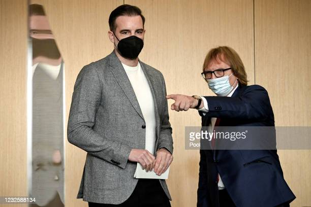 Defendant Former professional football player Christoph Metzelder and his attorney Prof. Ulrich Sommer arrive in the courtroom for the first day of...