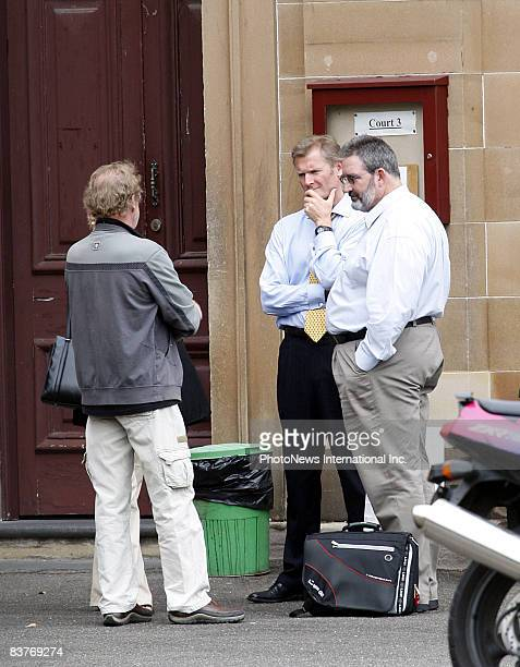 Defendant Gordon Wood talks with friends and family at Darlinghurst Court on October 28, 2008 in Sydney, Australia. Wood was accused of the murder of...