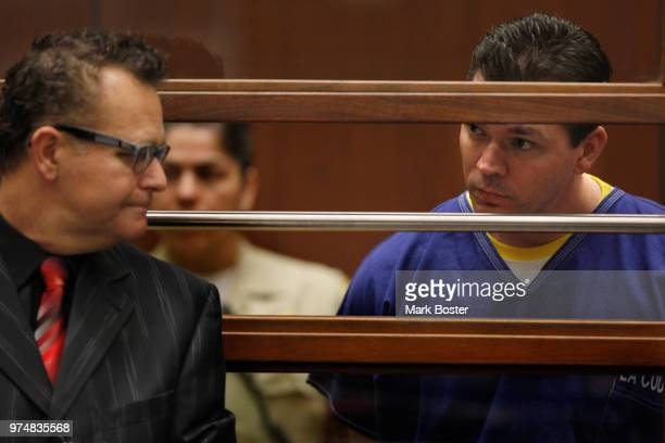 Defendant John Lenzie Creech who is charged with the murder of 20th Century Fox executive Gavin Smith listens with his attorney Alex Kessel in Los...